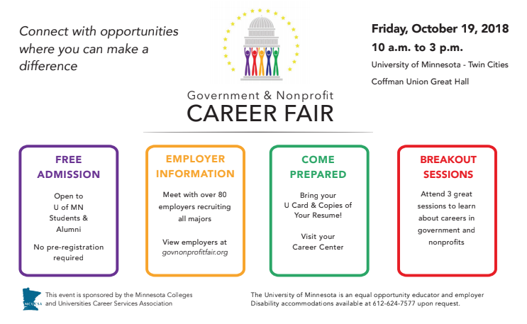 Gov and NP career fair flyer